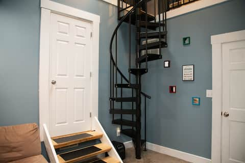 Broadripple studio loft with spiral staircase