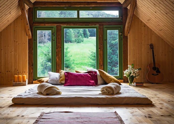 Spacious Attic, hills & forest views + free sauna
