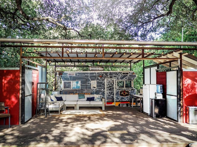 Retro RV with Outdoor living space on Urban Farm