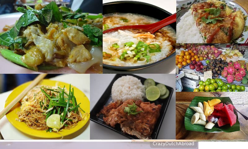 mostly eggs, rice & fruit for Traditional Thai breakfast