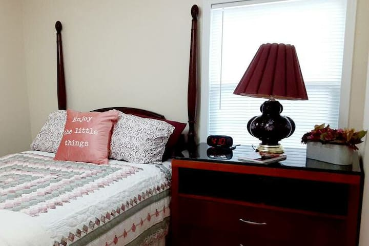 Comfortable full size bed and large dresser