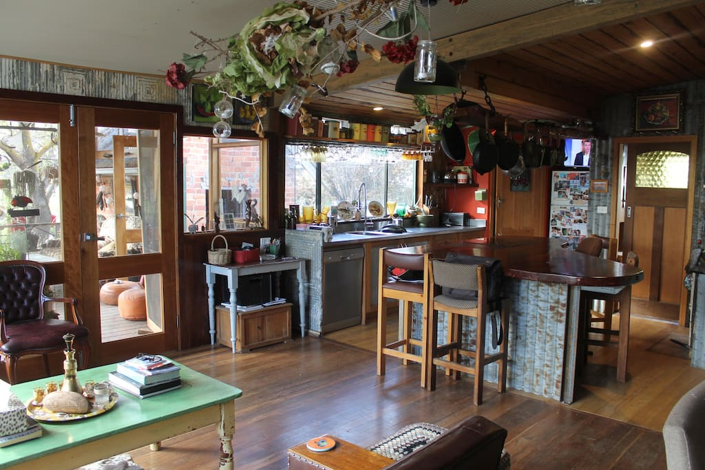 Kitchen with electric oven or a old wood oven for the adventurous.