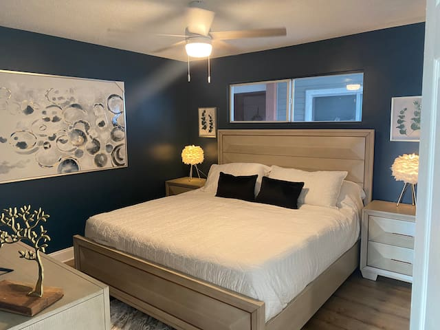 """Sexy and romantic King size bedroom set, the window treatment makes it fully private and dark if desired, 42"""" brand new smart TV."""