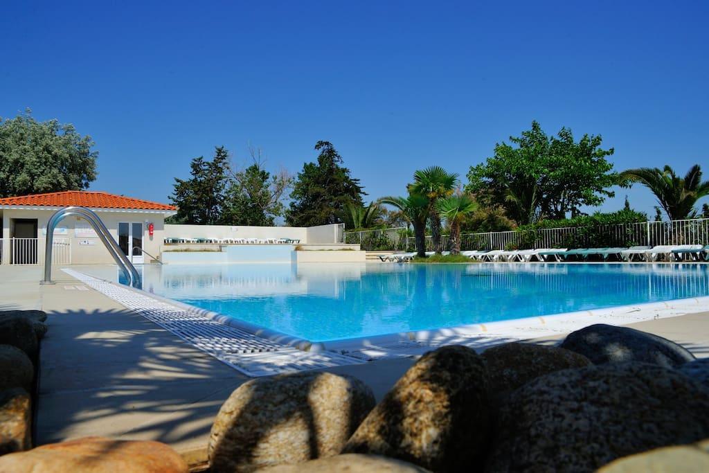 Accès gratuit à la piscine du Camping les Fontaines.