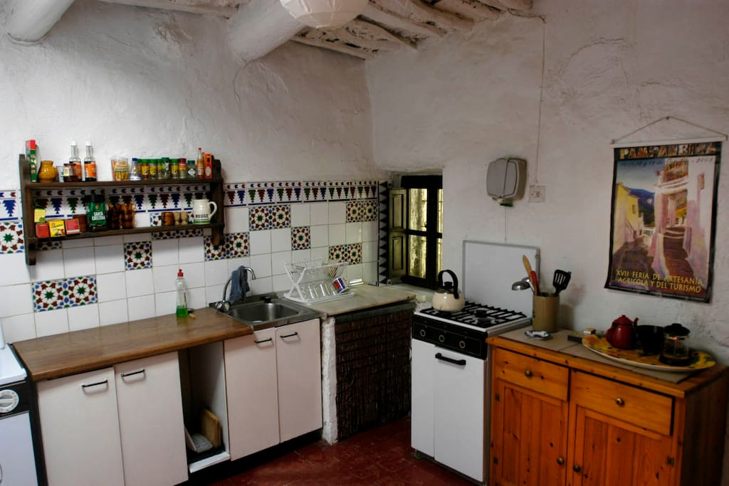 Rustic but well equipped kitchen.