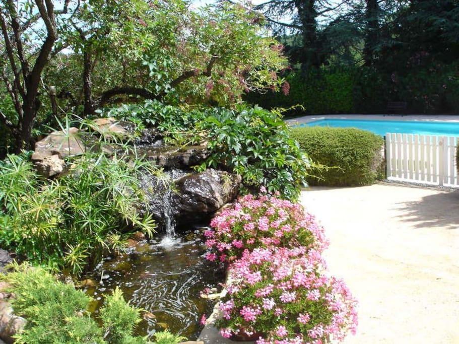 Fontaine avec la piscine 12X6 dans le parc  commune