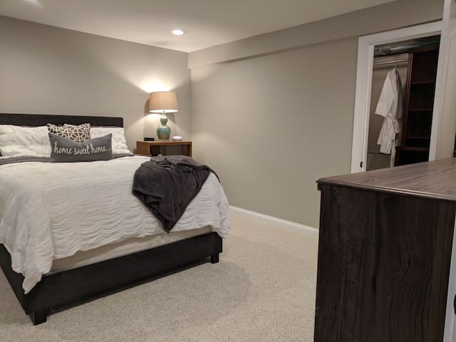 Main bedroom has a queen size bed with ultra plush memory foam mattress topper. Sound machines provided to help you sleep like a baby!