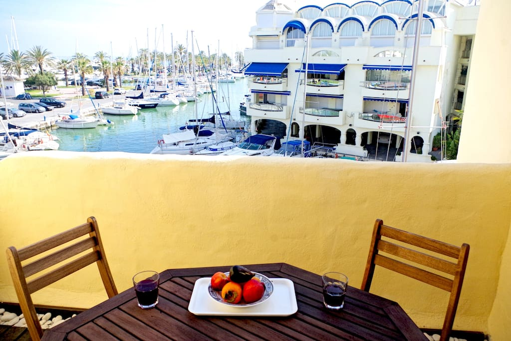 view from the balcony overlooking the marina