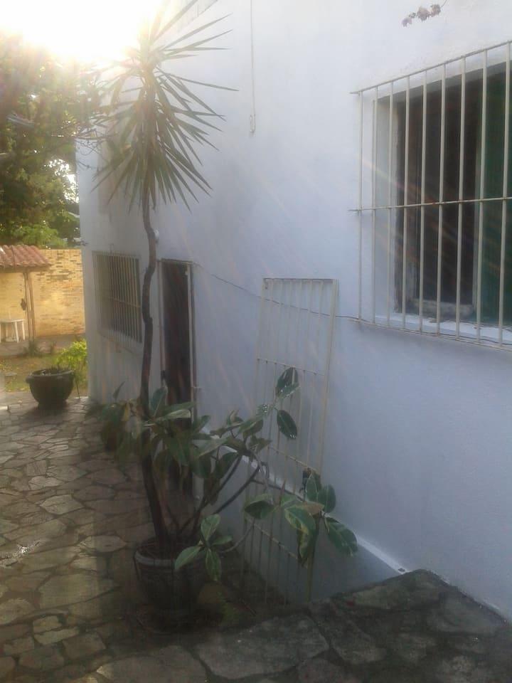 Amplo studio num quintal tropical