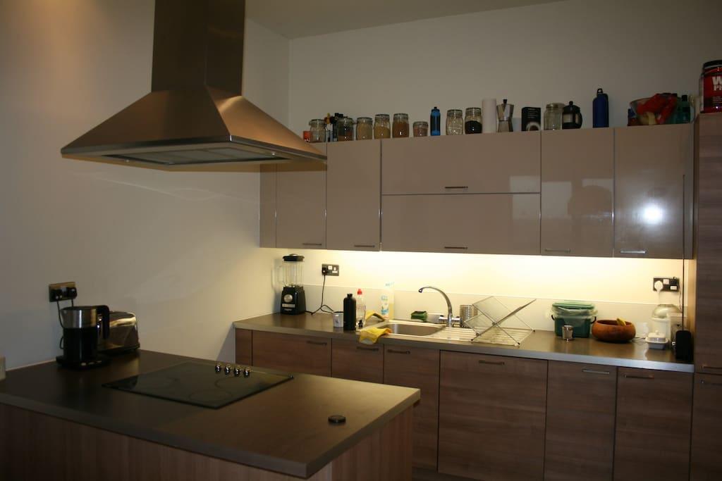 Modern kitchen with in-built dishwasher