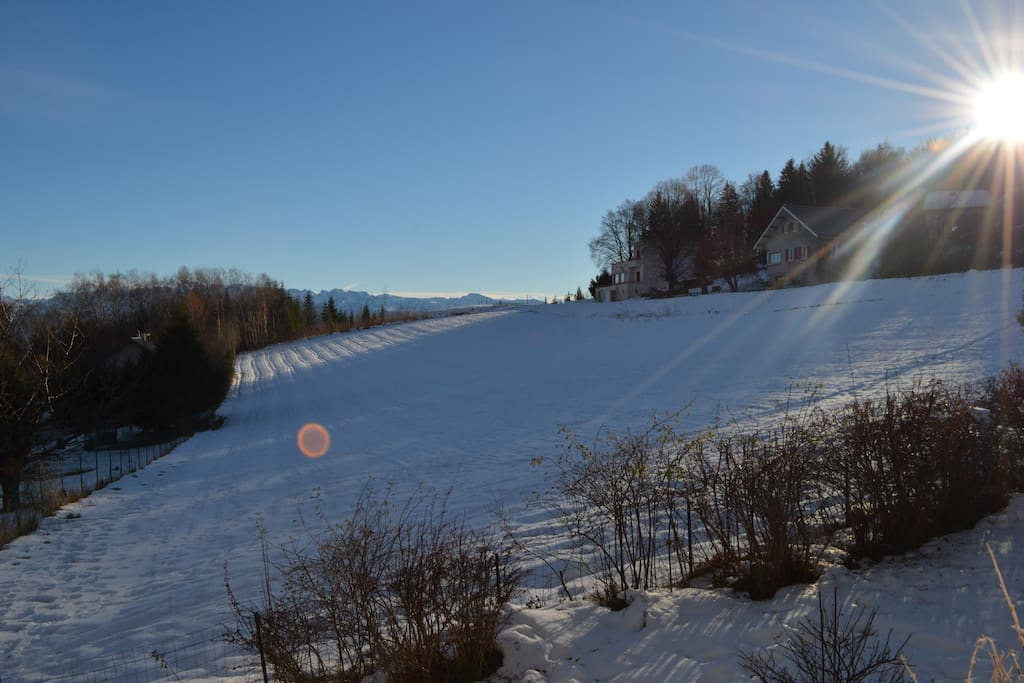 View from the garden in winter time; we see the Belledone Chain in the background.