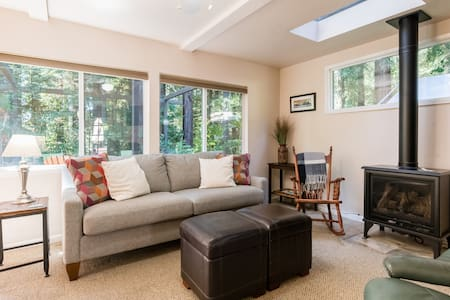 Sunny redwood forest cottage