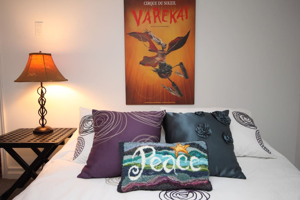 Nice linens and pillows to lull you to sleep.