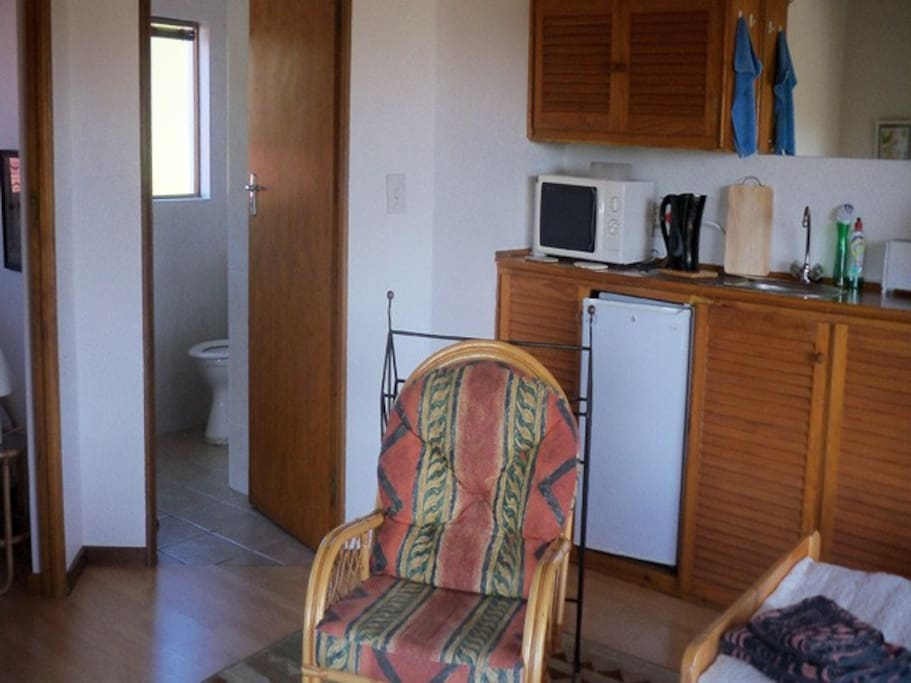 Main room with kitchen access to bathroom and single bedroom