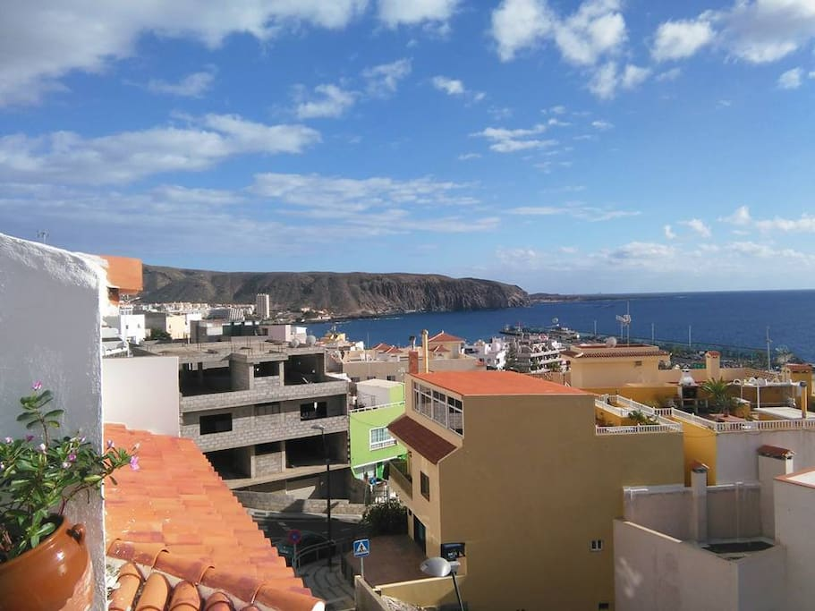 Terrace view to the harbour of Los Cristianos