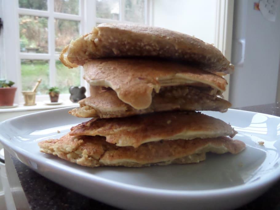 Homemade buttermilk pancakes for breakfast!