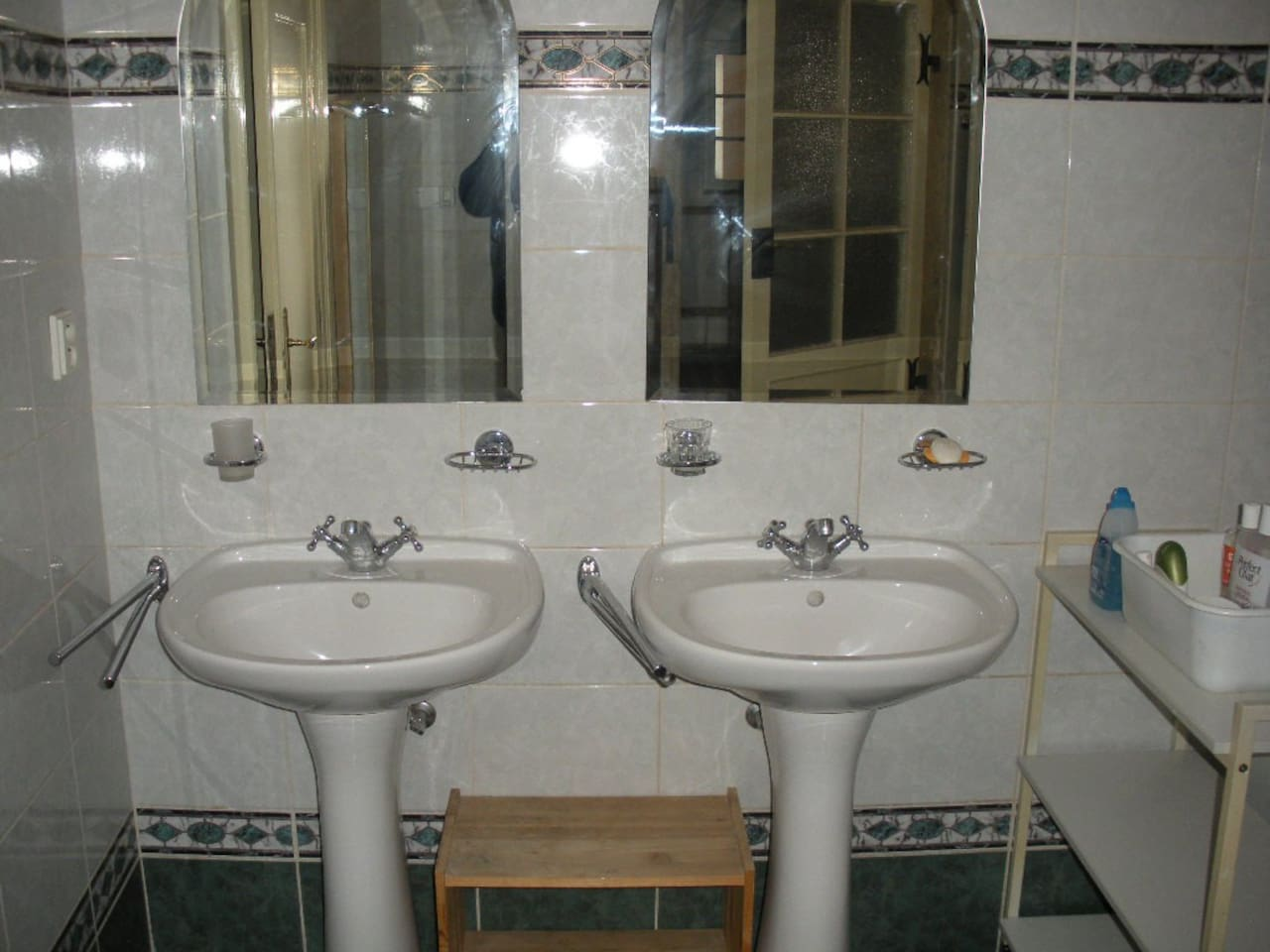 Two sinks are in the bathroom