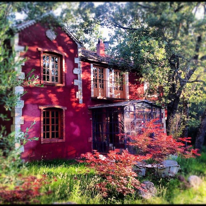 Una casa en un bosque de robles