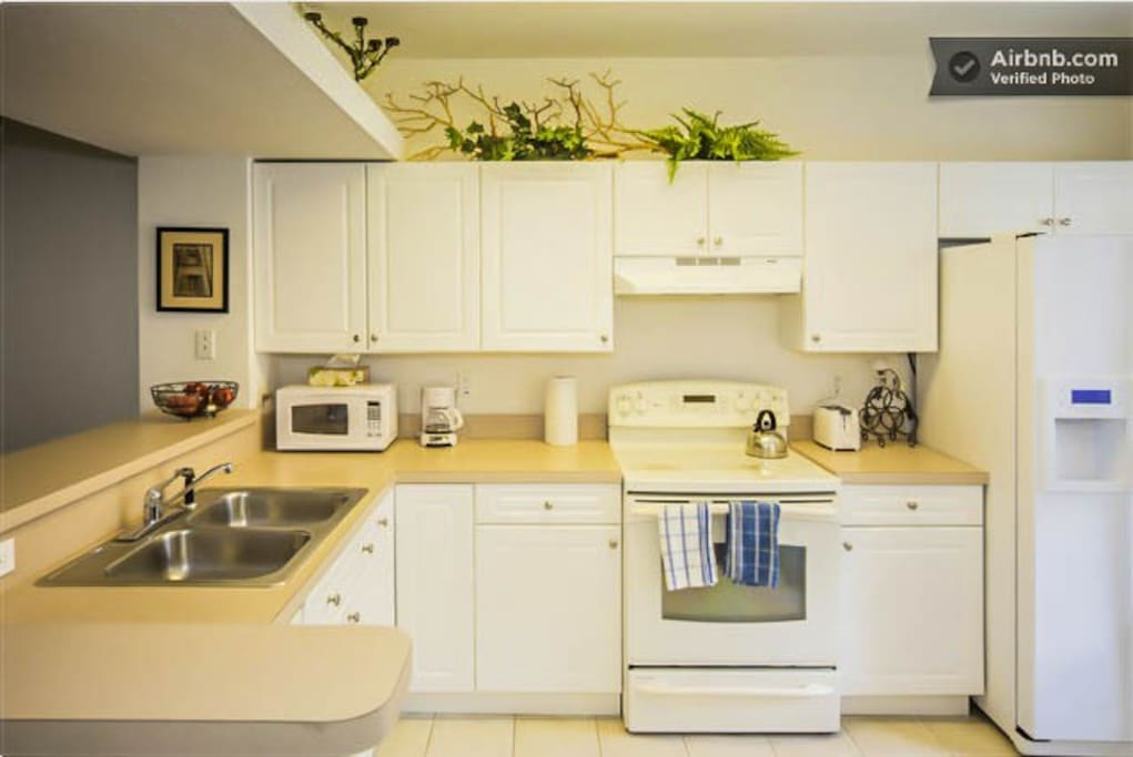 Feel right at home with all the essentials. Townhome comes with a new microwave, toaster, coffee and tea pot.