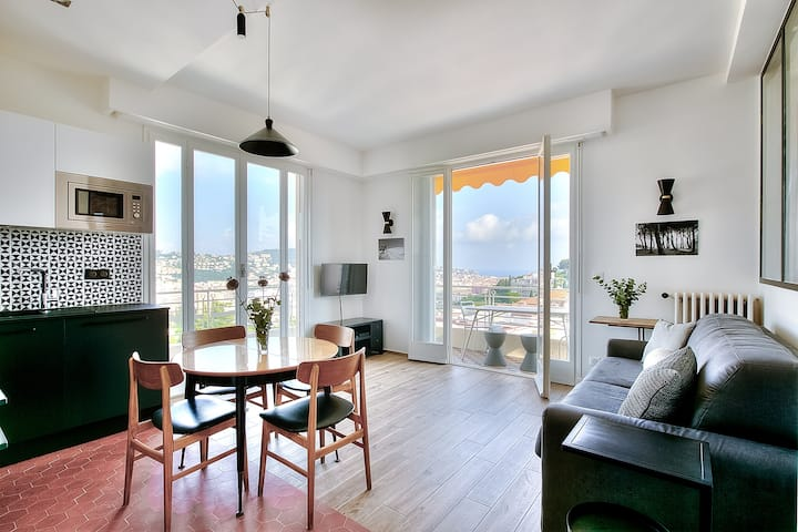 Renovated by designer. Panoramic view sea and city