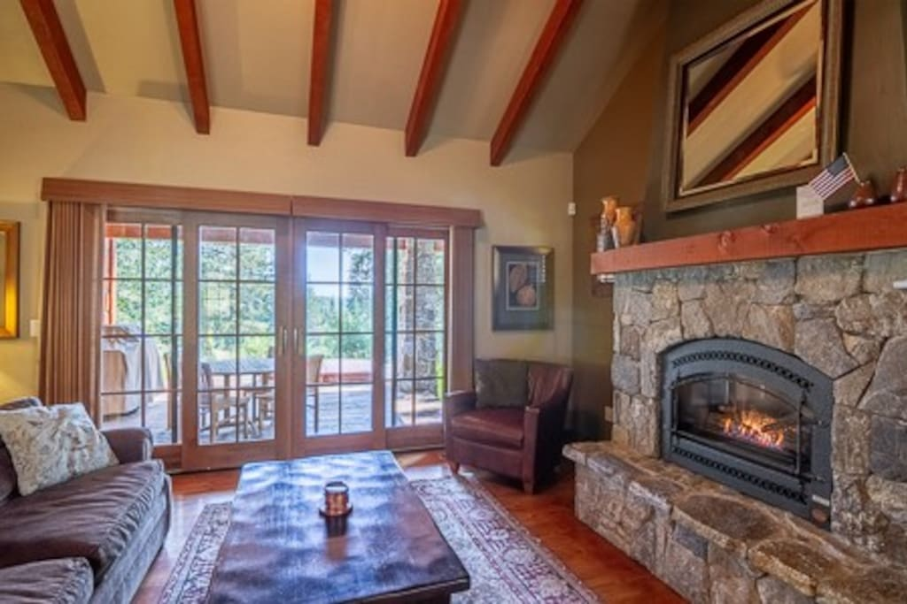Living Room Fireplace and French Doors