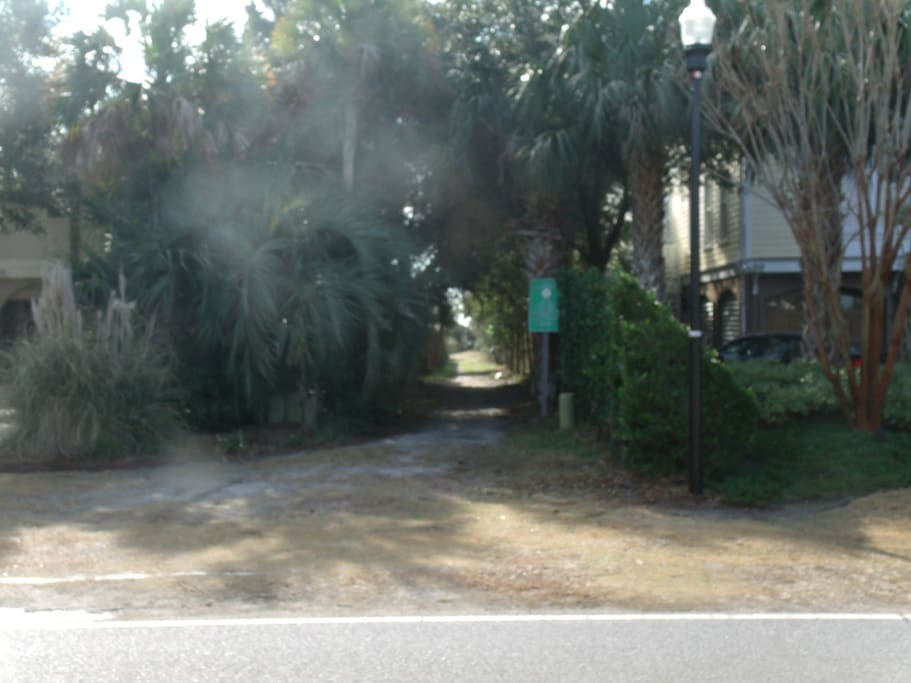 Beach access directly across the street from the home.