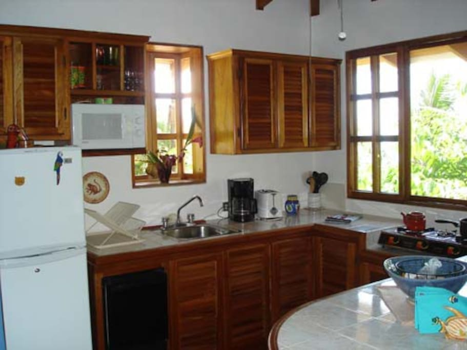 full kitchen with full size refrigerator and complete complement of appliances.