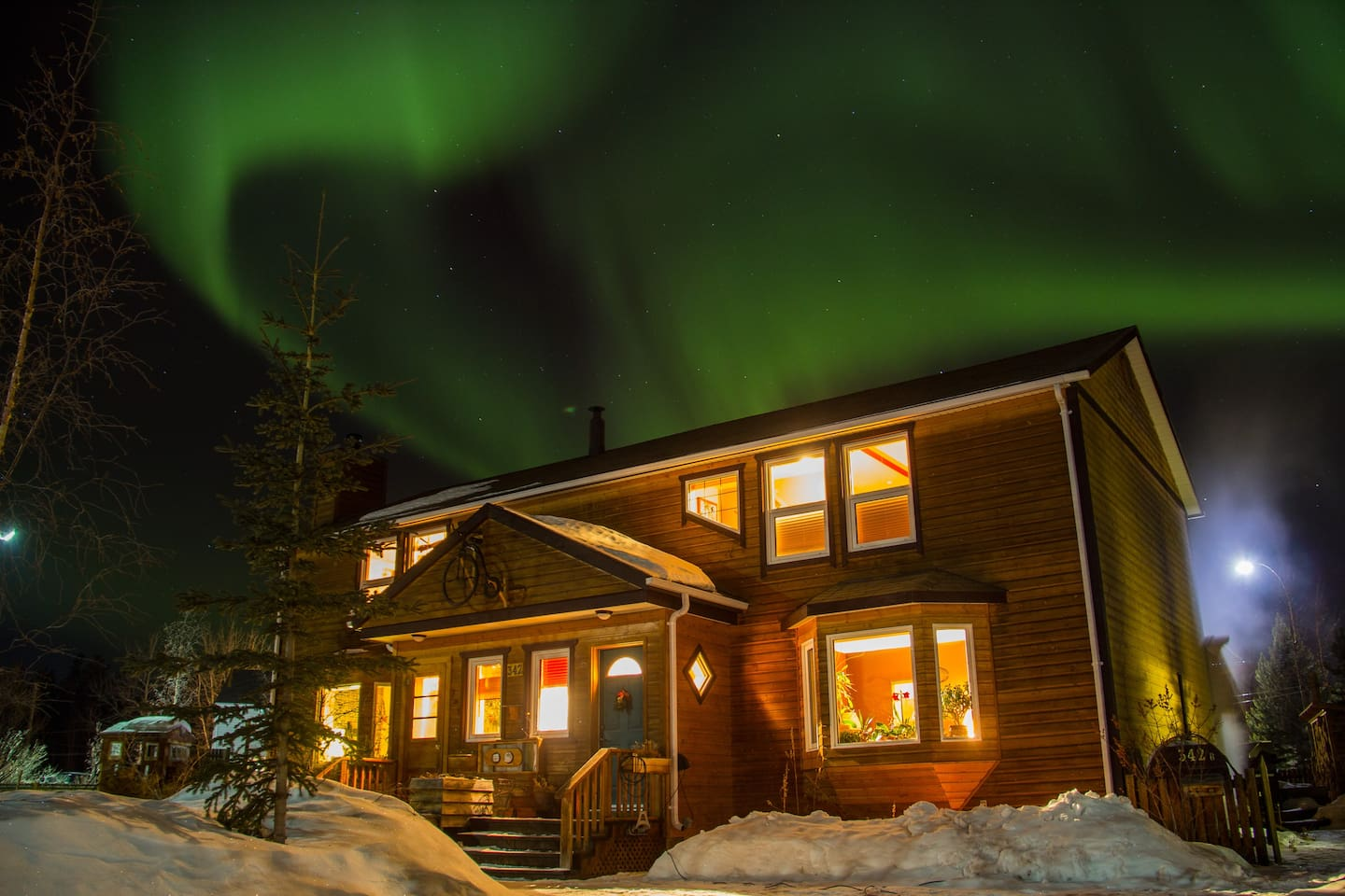 Northern lights, Aurora Borealis, from our driveway.