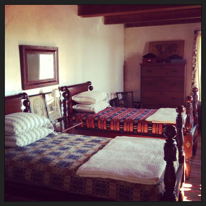 Upstairs bedroom with twin beds.