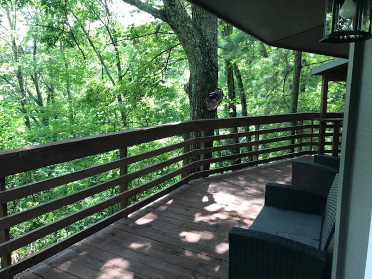 The deck wraps almost all of the chalet!