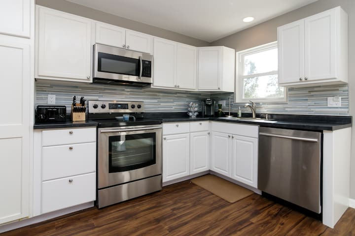 Sunny kitchen with new appliances