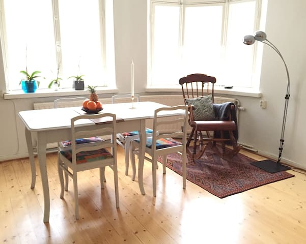 Living room table for dining or working.