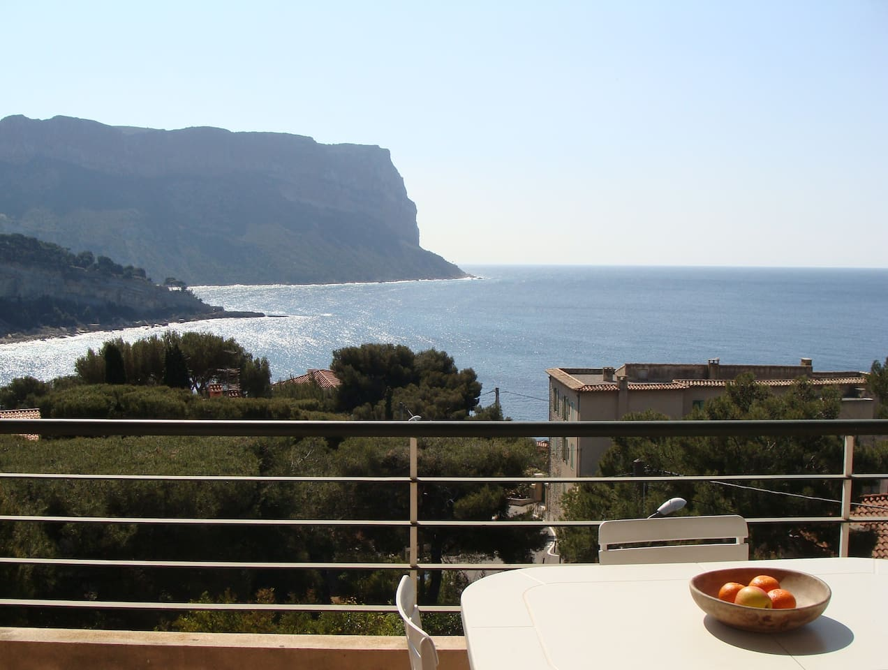 Enjoy the view and fresh croissants on the terrace.