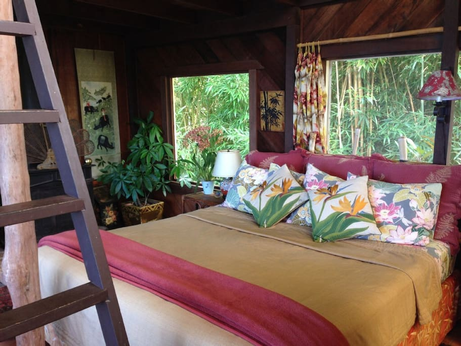 Snuggle into the king size bed surrounded by nature
