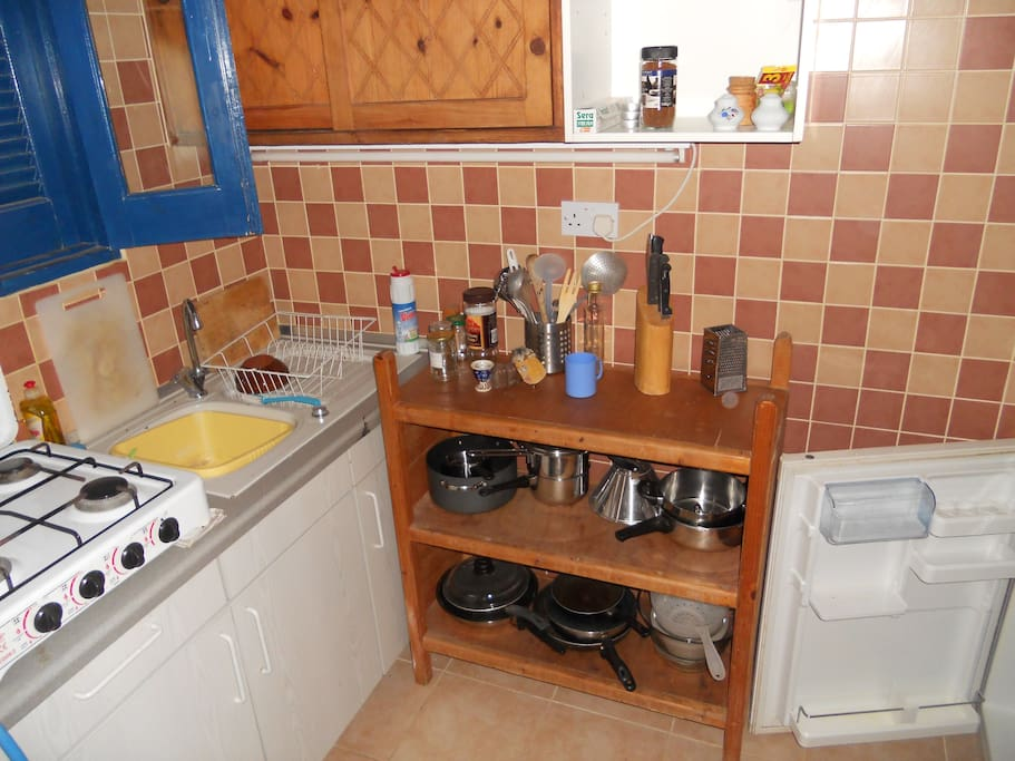 Kitchenette and a small fridge