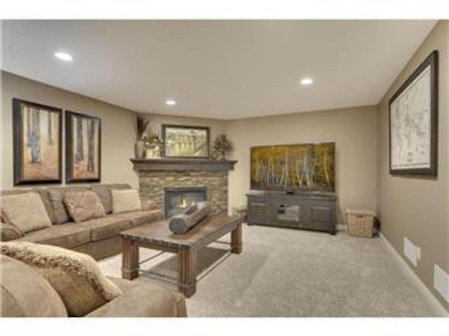 Family Room with TV and Fireplace