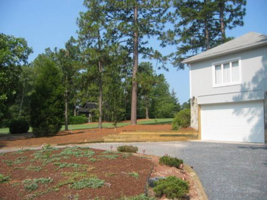 Front of house with golf course