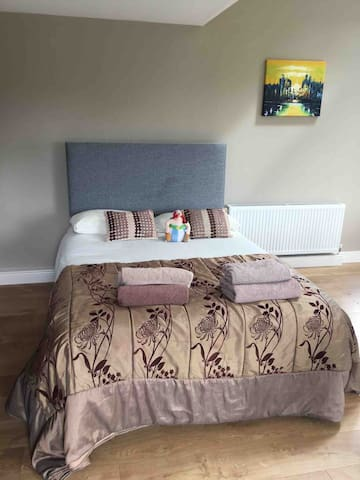 Downstairs double bed in open area