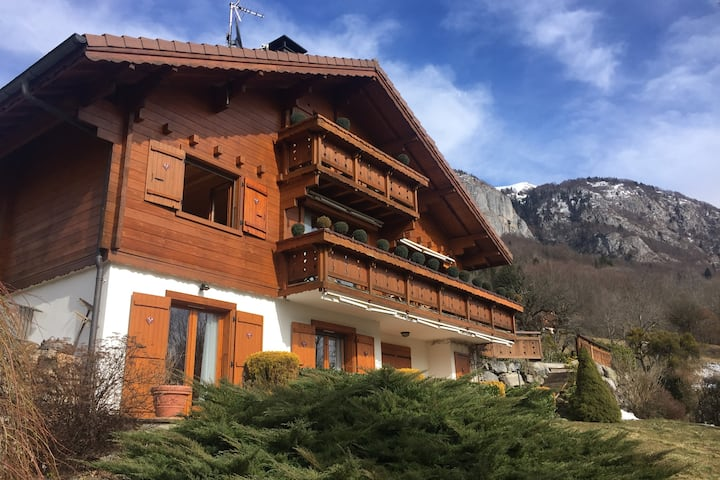 Ski/summer chalet with pool and views. Sleeps 10.