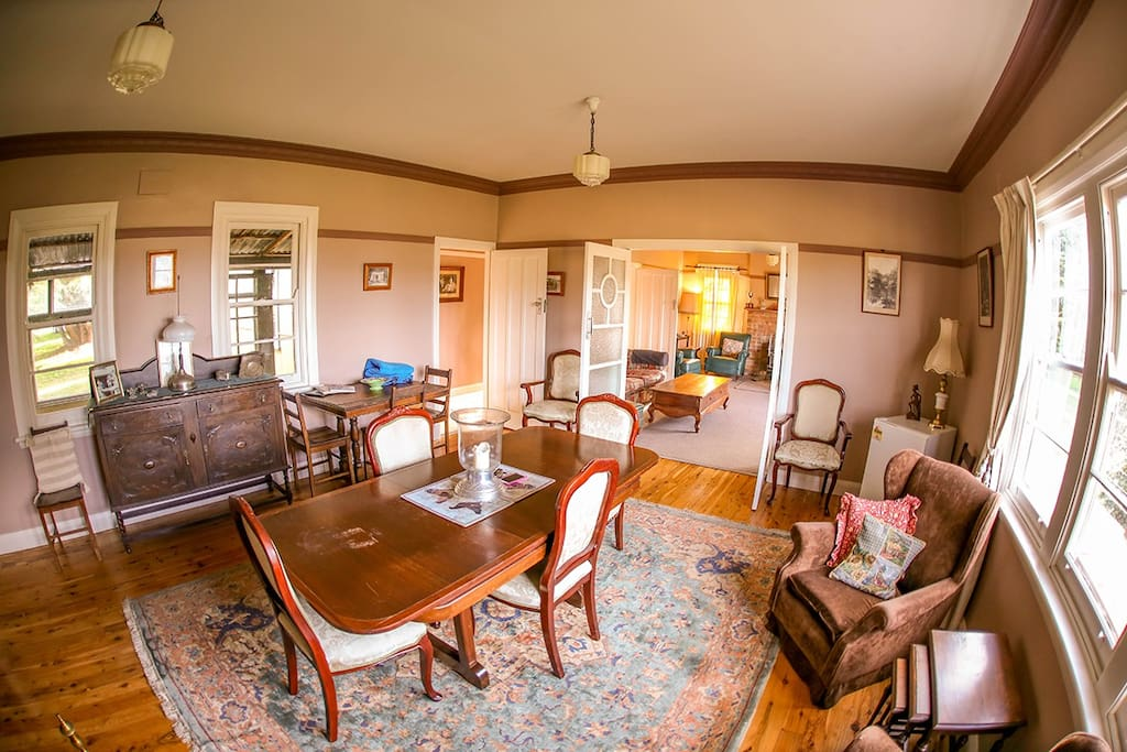In addition there is a table and chairs in the large country style kitchen.
