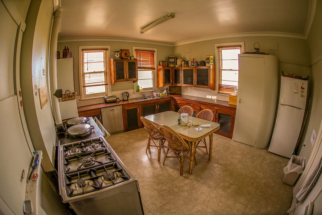 The kitchen, although not modern, is fully equipped with all you need for your stay - with a fridge-freezer, dishwasher, double electric oven and cook-top, microwave, crockery, cutlery and cooking utensils, including a food processor and electric beater.