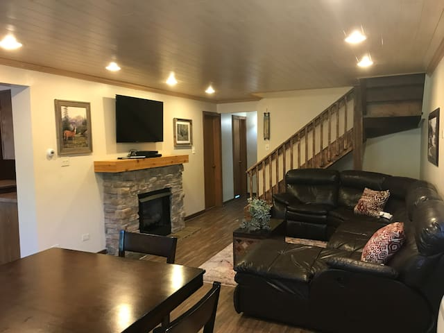 Family room with pub table