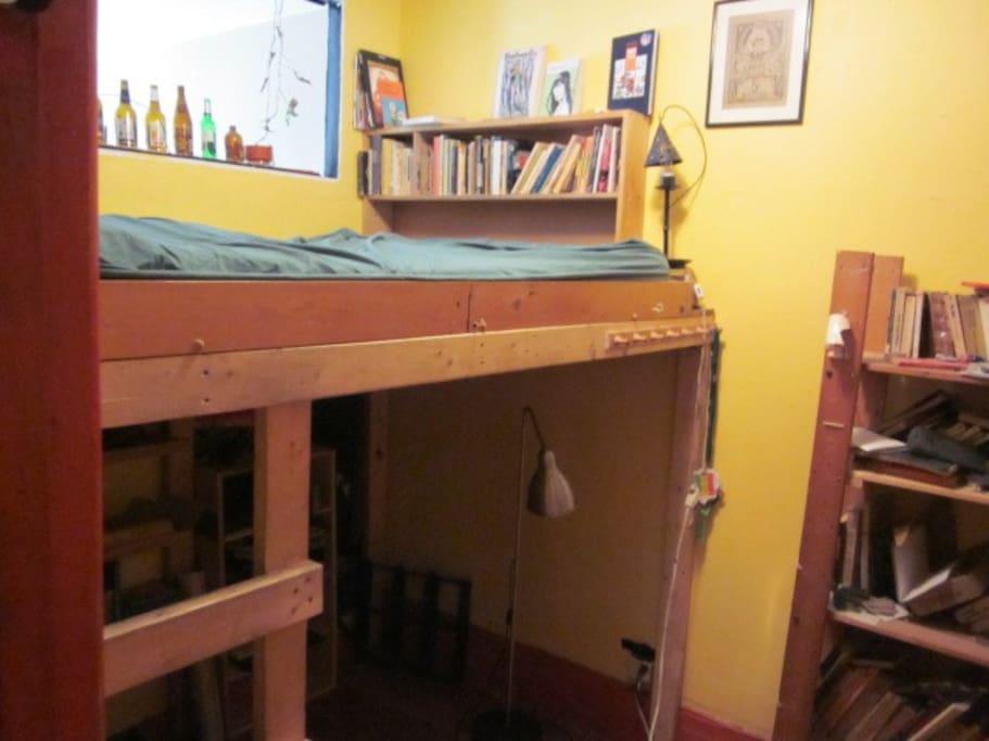 Double futon loft bed bedroom