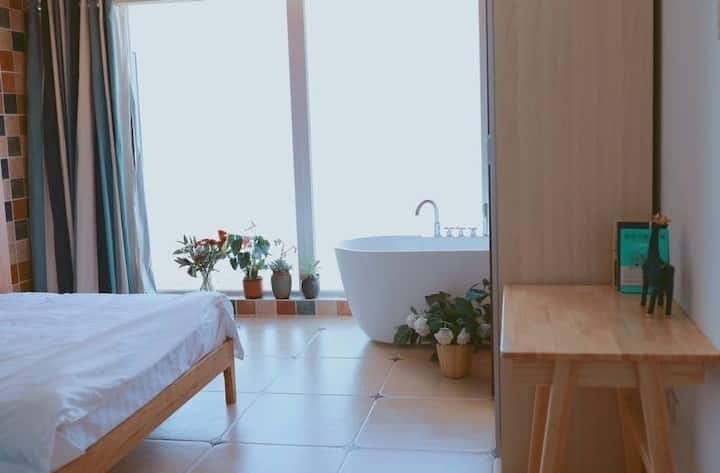 〔连岛〕青鸟客栈—全海景中央空调轻奢浴缸大床房