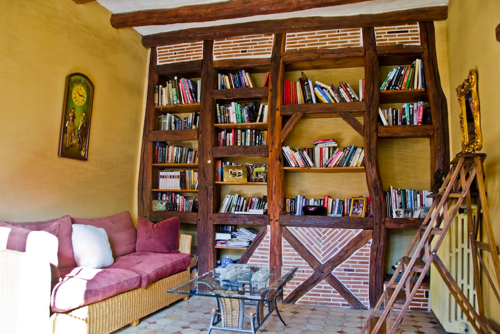 Our library where guests can chill out and plan their day