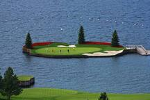 Are you a golfer? Well we have the golf courses! This is from the Hagadone Golf Resort. Yes, the 13 hole is on a floating green.