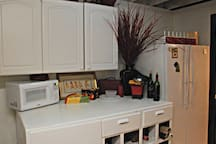 Your kitchenette! The fridge is for your use. We provide snacks and water.