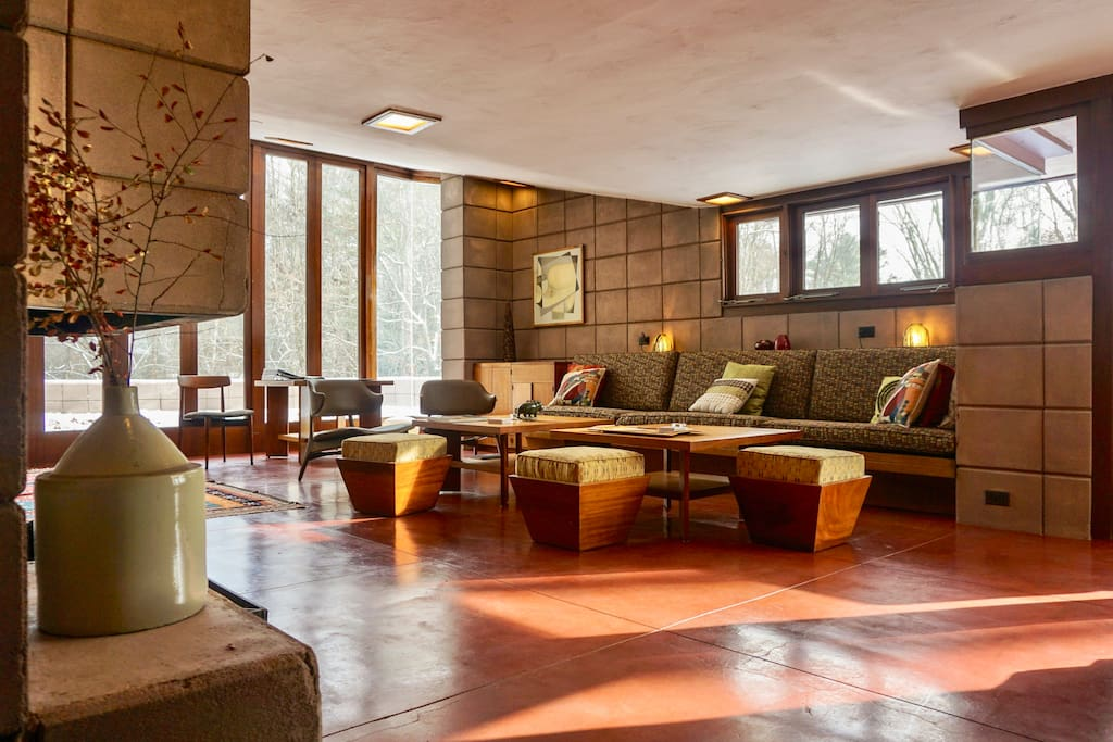 Living room with Frank Lloyd Wright designed furniture