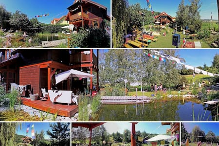 Wooden house with garden and pond!