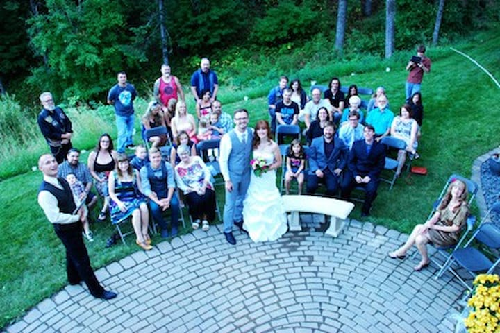 This was a wedding party of 45. David actually has a license to marry people!